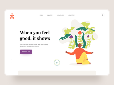 When you feel good, it shows. Yoga Landing Page. clean ux ui landing page website application forest people leaf nature awsmd practice meditation art colors illustration web yoga