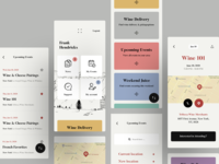 Wine events and festivals application ticket booking map minimal app design tickets colors interaction ui ux awsmd interface design product design mobile graphics illustration dashboard profile cards ui ecommerce events