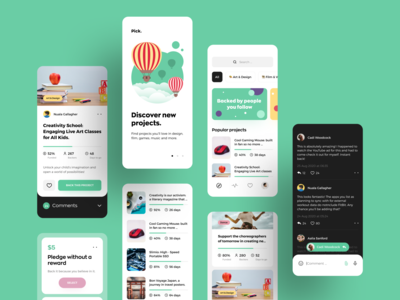 Crowdfunding App Design Concept startup technology kickstart creative design ui onboarding pricing plan chat app awsmd illustration crowdfunding campaign ios donate minimal interaction crowdfunding typography product design mobile branding