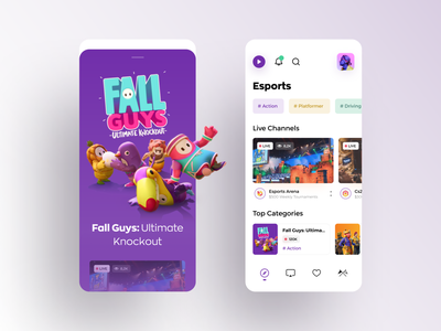 Live streaming app for gamers. 3d art video streaming dashboard app interaction creative minimal awsmd twitch broadcast streaming app streaming gaming games esports illustration product design mobile application
