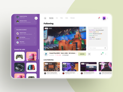 Live streaming application for gamers. minimal awsmd streaming live chat video dashboard ui dashboard ecommerce app web app gaming game broadcasting streaming app web design product design ux ui