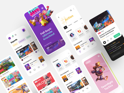 Live streaming app for gamers. product design interaction minimal ux ui awsmd mobile ui mobile app chat esports twitch gaming broadcasting streaming app stream video games illustration mobile