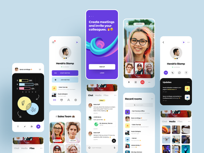 Video Meeting App for Teams broadcasting stream events data visualization awsmd video call onboarding chat profile dashboard product design zoom conference meeting app cloud app video app design mobile ux ui