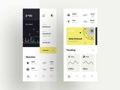 Easy saving and investing application ios cases charts portfolio dashboard illustration data graphics investment trading stock stocks fintech finances mobile product design 2020 app design ux ui