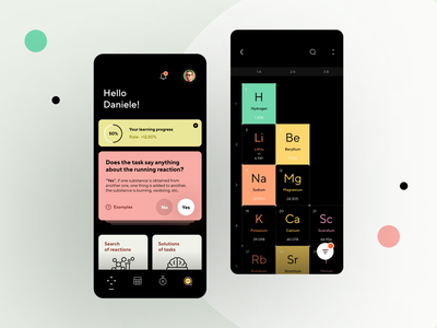 App for studying chemistry data widgets minimal task interface icons cards elements ios learning app illustration graphics periodic table chemistry product design mobile ui dashboard ux ui