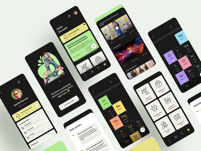 App for studying chemistry mobile ui task data graphics icons mobile app design study app ios periodic table video learning app chemistry interface dashboard product design app design illustration interaction ux ui