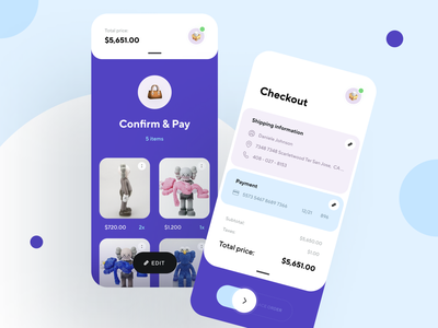 Confirmation and Checkout delivery app graphics shop checkout page ui design creative product design illustration shipping store ecommerce shop ecommerce payment mobile ui design app ux ui