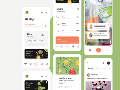 Nutrition and Diet App UI Map interface minimal calendar dashboard analytics scanning recipe diet icons diary illustration graphics food app mobile app product design ui map mobile app design ux ui
