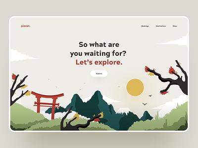 Travel web app awsmd website concept nature art japan trip booking discover travelling landing page interface graphics product design illustration minimal travel app website design web ux ui