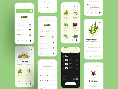 Hydroponic Plant App 🥦 ui map market shop cart herbs vegetables food app plants ecology eco hydroponic graphics dashboard product design illustration minimal interaction creative ux ui