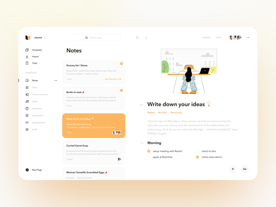 Notes App concept web app organizer to do app graphics widgets notes app interface layout landing page dashboard product design illustration minimal creative ux ui
