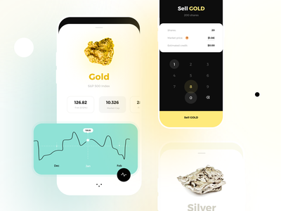 Investment & Finance App stocks trade sell silver gold currency exchange wallet portfolio investment app finance fintech app app product design interface dashboard graphics illustration creative ux ui