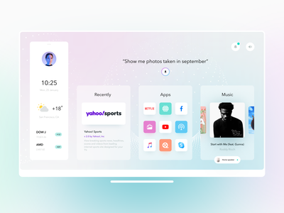 Smart TV App design concept visual design website lighting tv app voice assistant stocks widgets news app music app smart tv tv interface dashboard graphics product design illustration minimal creative ux ui
