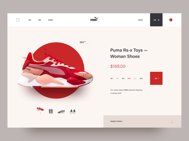 Puma sneaker shop. design illustration layout 2018 clean landing page interaction awsmd e commerce shoes store shop creative ux ui puma
