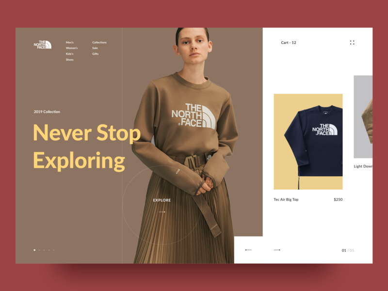 The North Face store. e commerce layout landing page interaction ui ux awsmd grid typography photo art inspiration interface models fashion design creative 2018