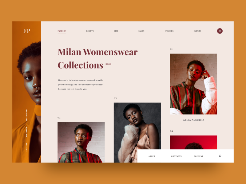 Milan Womenswear Collections journal e commerce fashion models art colors typography grid layout clean 2018 landing page interaction awsmd design creative ux ui