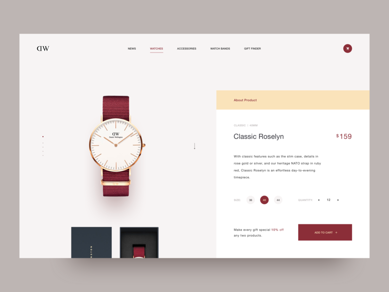 Daniel Wellington store. art animation art 2018 daniel wellington layout ui ux shop shop app store landing page animation illustration e commerce creative clean awsmd product watches watch
