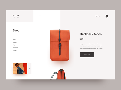 Rains. Backpack store. minimal product cart rains interface typography design interaction layout clean landing page awsmd creative ecommerce store shop orange fashion wear backpack