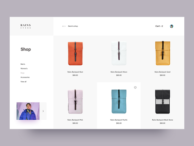 Rains. Backpack store backpack wear fashion orange shop store ecommerce creative awsmd landing page clean layout interaction design typography interface rains cart product minimal