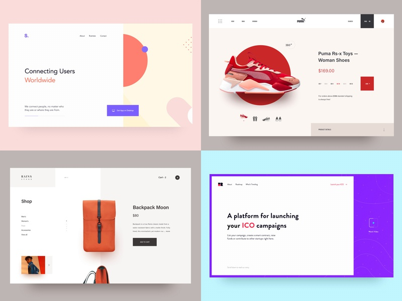 My best 2018 landing page layout interaction ux ui design awsmd clean creative backpack nike sneakers shoes landing ecommerce shop store rains ecommerce mybest2018 2018