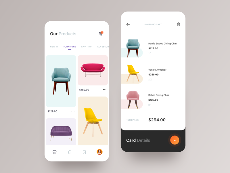 E-commerce App Interface store typography 2019 ux ui design interaction creative awsmd checkout minimal fashion layout product cart chairs furniture interface app ecommerce