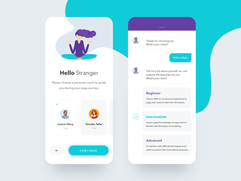 Daily Yoga - Workout and Poses. clean vector interaction 2019 interface app art illustration awsmd design creative ux ui onboarding chatbot chat poses workout fitness app yoga