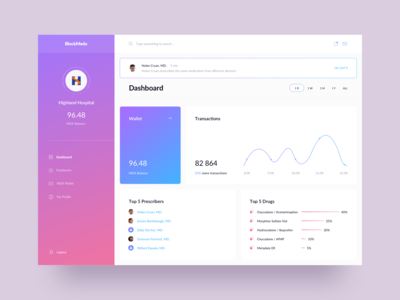 BlockMedx - Blockchain platform dashboard