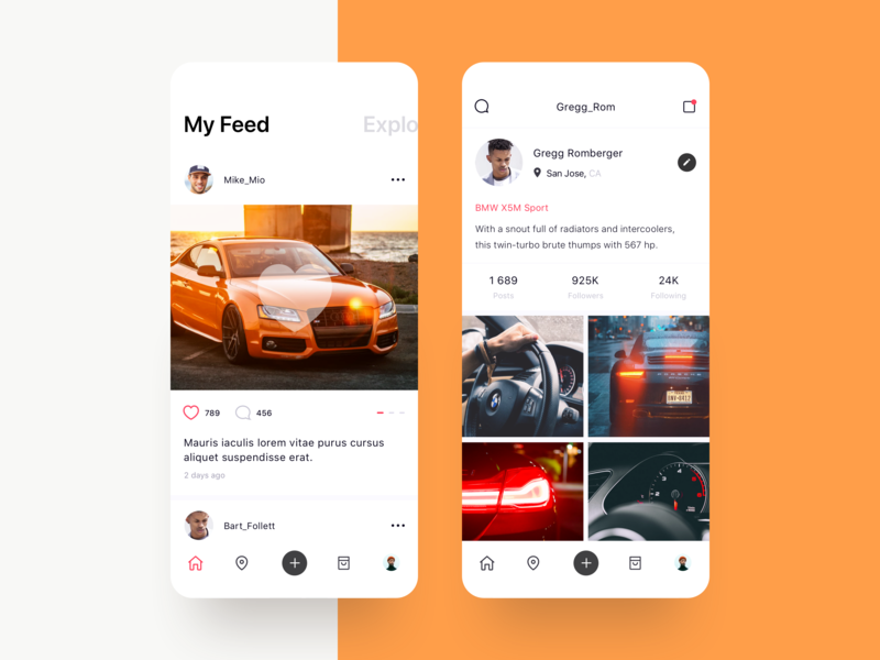 Carrum - Connecting you to car enthusiasts in your area marketplace profile social app minimal carrum car social photo typography interface app interaction ux awsmd creative ui