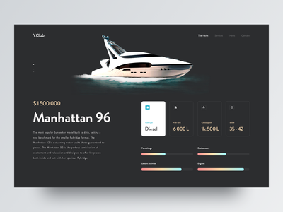 Yacht travel experience - Landing page typography interface interaction 2019 minimal product dashboard clean layout creative awsmd landing landing page experience travel configuration illustration boat yacht sea