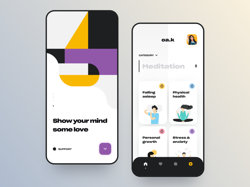 Show your mind some love | Meditation app life vector interface creative typography art yoga activities minimalist app dashboard meditation product ux ui graphics onboarding pattern illustration awsmd