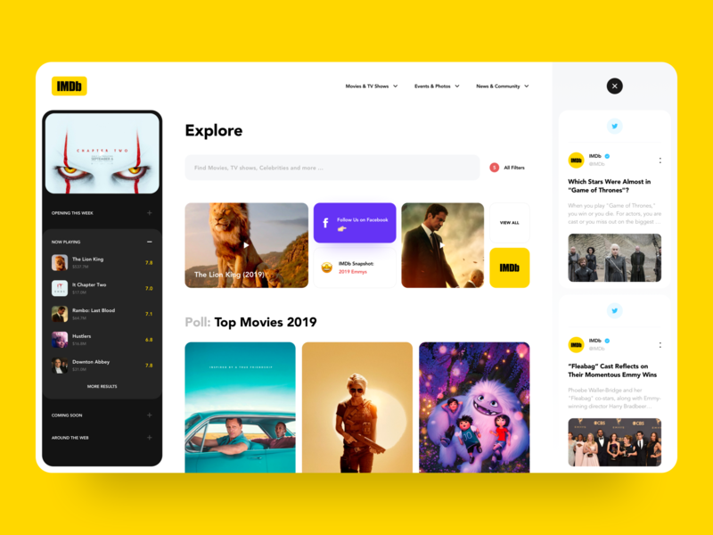 IMDb website concept tv photos media creative typography landing page interface awsmd clean movie poster art website dashboard 2019 imdb app movie app movie