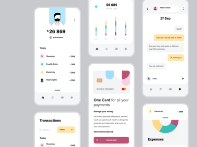 Fintech App illustrations profile uiux ui support chat bar chart transactions dashboard data graph payments credit card currency banking finances fintechapp fintech