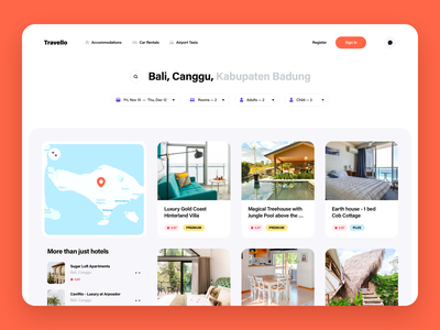 Find deals for any season listing map ui cards ui web app real estate cards filters search airport rent car rent appartments booking book travel trip