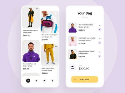 Clothing Shop App Design trend ios interface illustration listing product checkout minimal app design store shop ecommerce app clothing cart app