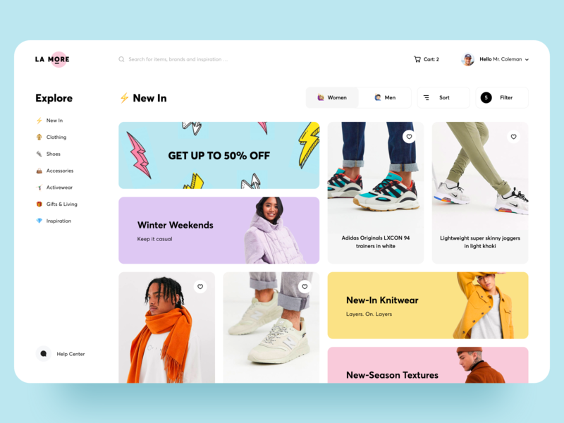 Shop Clothing Web Page clean creative uiux store app graphics product design fashion illustration awsmd interaction fashion boutique store banner design clothing website design e commerce