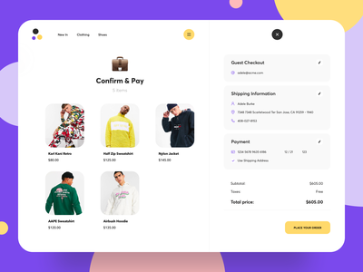 Confirmation and Checkout minimal concept shipping icons creative clean ui website shop clothing clean illustration product design store awsmd cart order e commerce payment checkout process checkout page