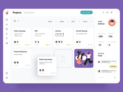 Task Manager Concept clean minimal uiux typography web design filters activity feed chat icons illustration data dashboard profile product design trello task app tool project card list task manager