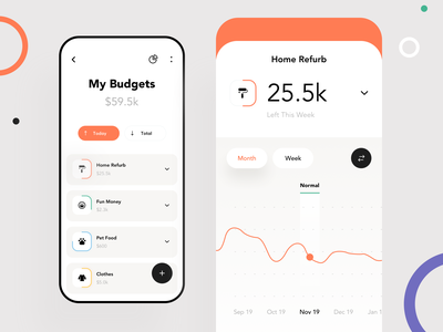 Banking App Concept product design mobile design analytics data money budget interaction interface icons graphics filter expenses awsmd cost change card banking app amount