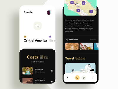 Travel Service - App Design uiux trend surfing minimal clean adventure trip planner trip map travelling interaction illustration colors app mobile product design explore travel app travel