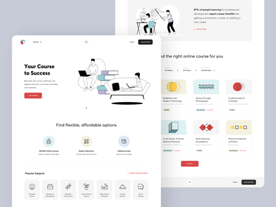 Online courses / Landing page creative minimal cards study banner 2020 icons awsmd university platform education courses app uiux landing page interaction illustrations product design typography webdesign