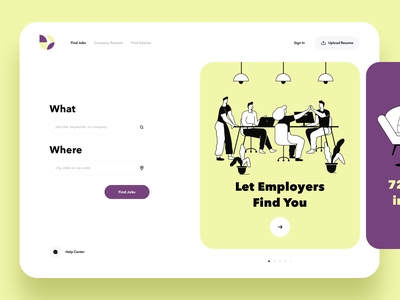 Find Job Website layout vector interaction inspiration hire search uiux ui dashboard card landing page jobs landing web icons typography product design illustration webdesign