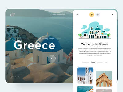Travel Website creative awsmd web layout trip planner interaction inspiration minimal clean graphics ui  ux landing page travel greece app typography illustration product design web design