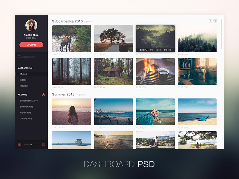Photo management application  design FREE PSD layout flat clean interface psd free freebie sidebar photo dashboard
