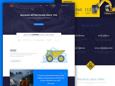 Bituroad Landing Page design flat outline web blue illustration form testimonial road ux ui landing page