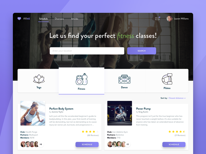 FitMe - Fitness Scheduling App trainer card product design fitness app landing page webdesign icons flat tabs search booking fitness