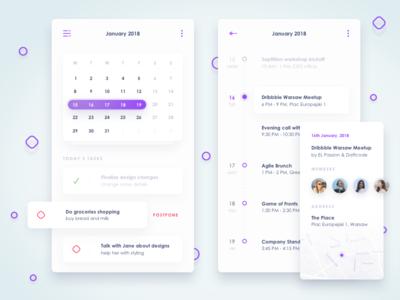Calendar view of concept financial app app clean light planning tasks mobile events finance financial card list calendar