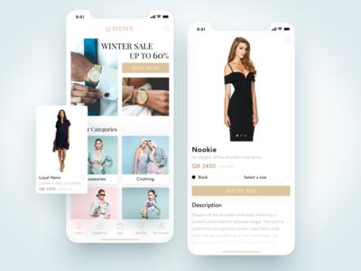 Q Avenue Ecommerce App clean minimal minimalistic clothing clean design shop estore eshop product categories card mobile ios app fashion luxury ecommerce e-commerce