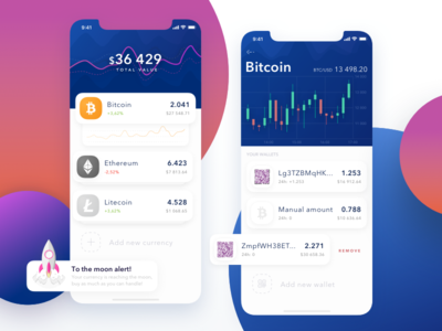 Coin Tracker mobile cryptocurrency app mobile app tracking wallet chart graph crypto currency trade blockchain budget business analytics transaction ios ico token payment ui money round bank interface