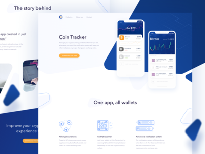 Coin Tracker Landing Page header fresh composition landing page web website mobile app tracking wallet chart graph crypto currency trade blockchain budget business analytics transaction ios ico token payment ui money round bank interface