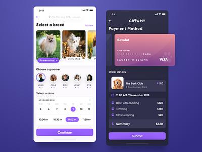 Groomy mobile calendar summary swipe list ux ui user experience user interface payment groomer pet breed dog
